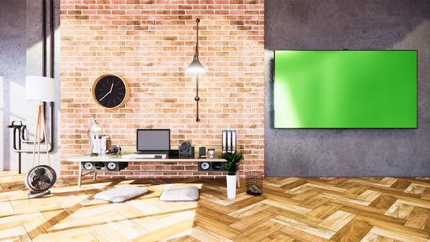 Бизнес номер пустой стиль лофт с дизайном бетонной стены лофт. 3d рендеринг Premium Фотографии