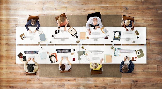 Business team meeting connection digital technology concept Premium Photo