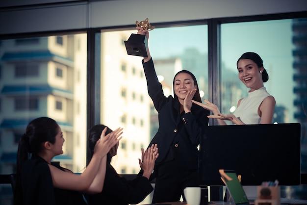 Business team success achievement arm raised Premium Photo