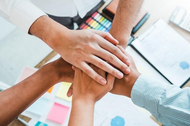 Business teamwork joining hands team spirit collaboration Premium Photo
