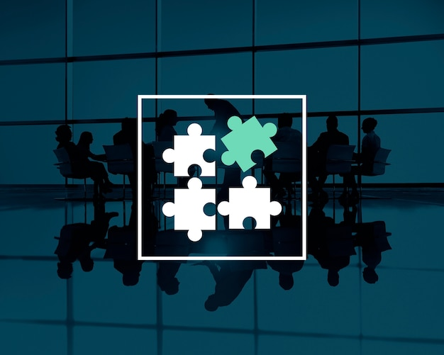 퍼즐 조각으로 비즈니스 팀워크 실루엣 무료 사진