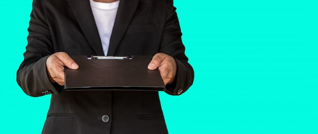 Business woman handed document file to customer Premium Photo