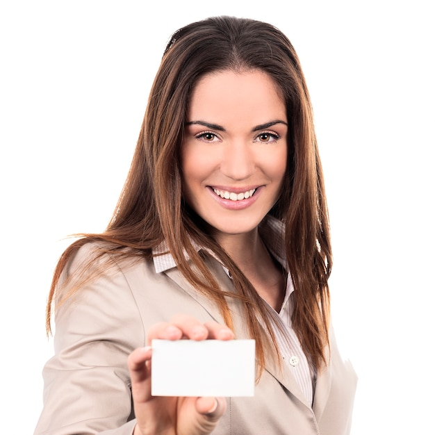 Business woman holding a blank business card over white background Free Photo