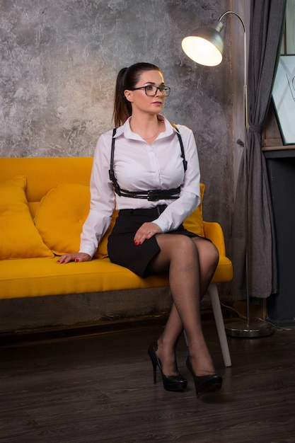 Business woman in a white blouse Premium Photo