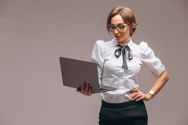 Business woman with computer isolated Free Photo