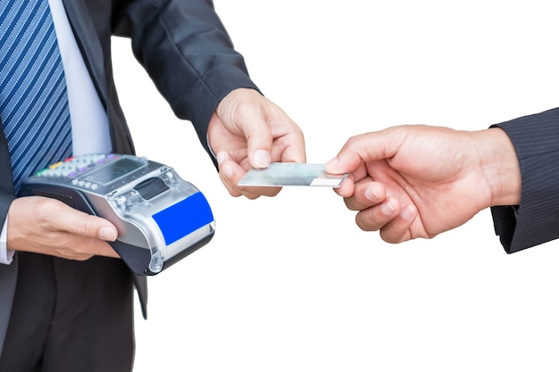 Businessman accepting credit card from customer by paying via receipt printer Premium Photo