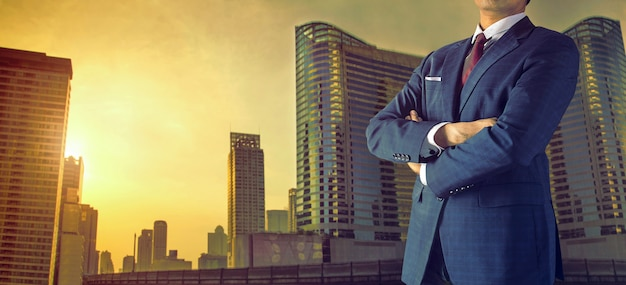 Businessman in big city Premium Photo