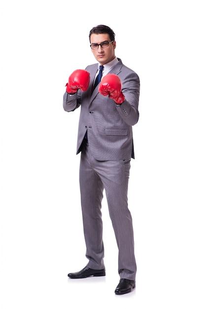 Businessman boxing isolated Premium Photo