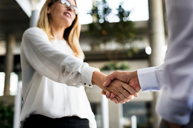 A businessman and a businesswoman shaking hands in agreement Premium Photo