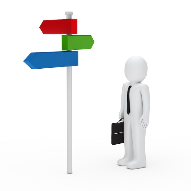 Businessman next to a colorful signpost Free Photo