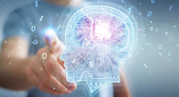 Businessman creating artificial intelligence 3d rendering Premium Photo
