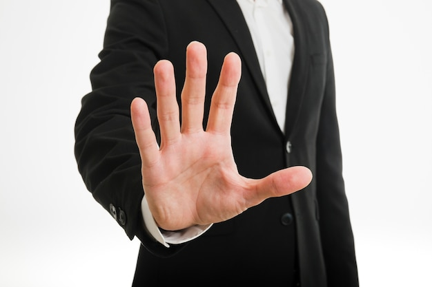 Businessman doing stop gesture Premium Photo