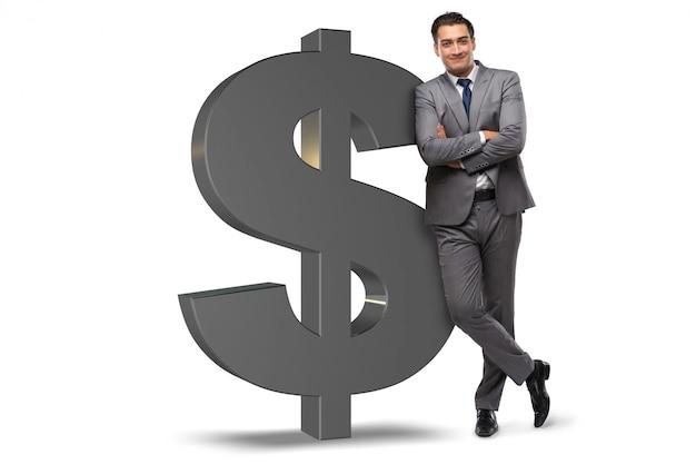 Businessman next to dollar sign isolated on white Premium Photo