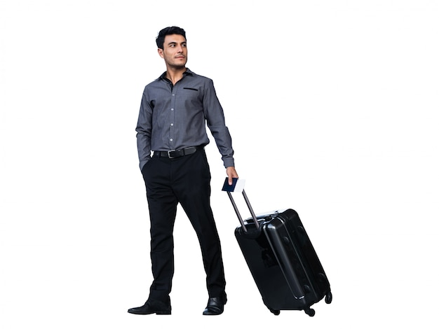 Businessman dragging luggages isolated on white Premium Photo