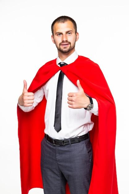 白い背景の分離を親指でスーパーヒーローのような格好のビジネスマン Premium写真
