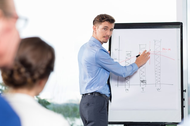 Businessman explaining bar chart to audience Free Photo