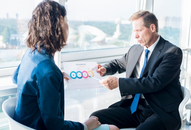 Businessman explaining infographic elements sheet to his female colleague Free Photo