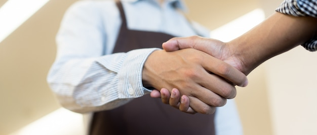 Businessman handshake with partner,ceo leader hand shake for agreement Premium Photo