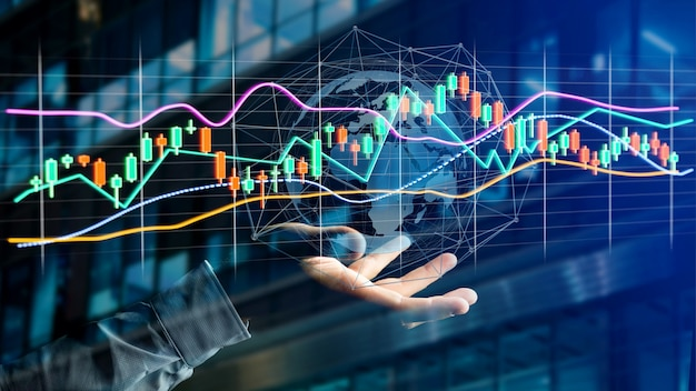 Businessman holding a 3d render stock exchange trading data information display onfuturistic interface Premium Photo