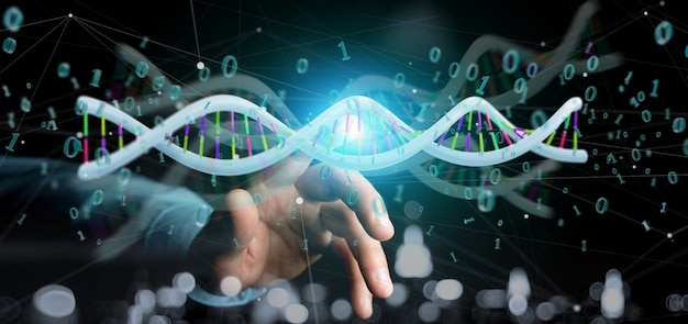 Businessman holding a 3d rendering data coded dna with binary file around Premium Photo