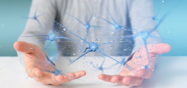 Businessman holding a 3d rendering group of neurons Premium Photo