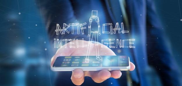 Businessman holding an artificial inteligence robot made of light 3d rendering Premium Photo