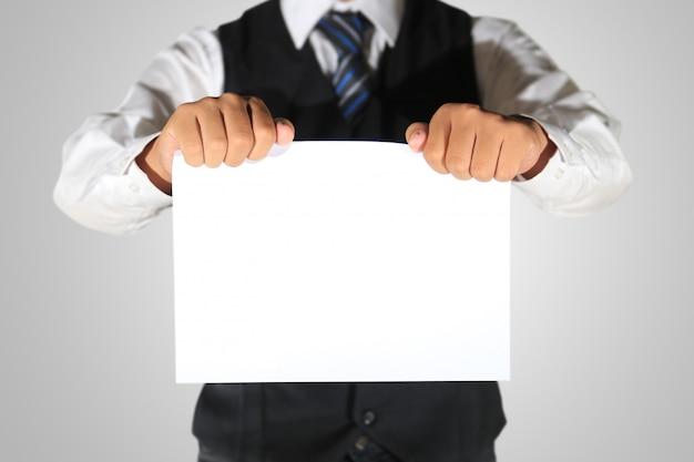 Businessman holding blank paper Premium Photo