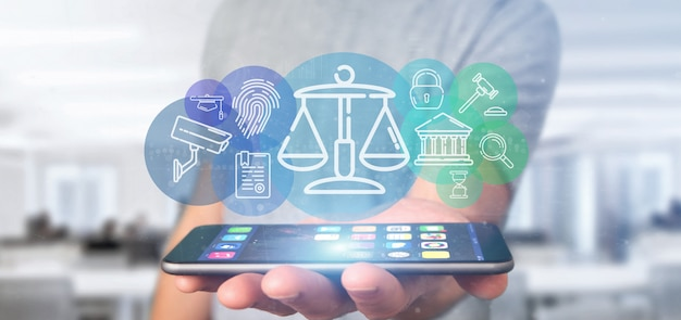 Businessman holding cloud of justice and law icon bubble with data 3d rendering Premium Photo