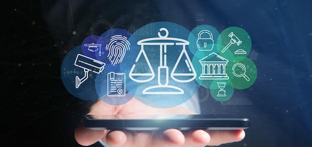 Businessman holding cloud of justice and law icon bubble with data Premium Photo