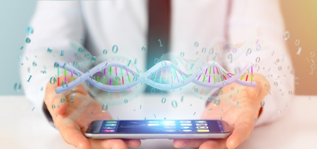 Businessman holding a  data coded dna with binary file around Premium Photo
