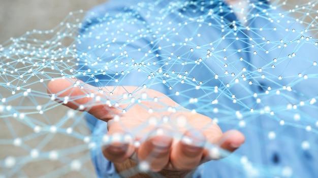 Businessman holding flying network dot 3d rendering Premium Photo