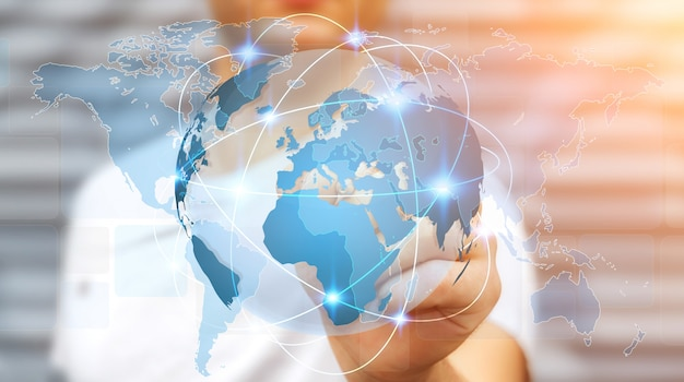 Businessman holding global network on planet earth 3d rendering Premium Photo