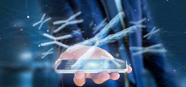 Businessman holding a group of chromosome with dna inside isolated  3d rendering Premium Photo