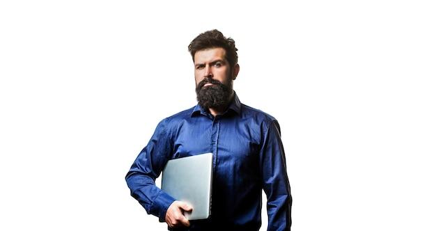 그의 노트북을 들고 사업 프리미엄 사진