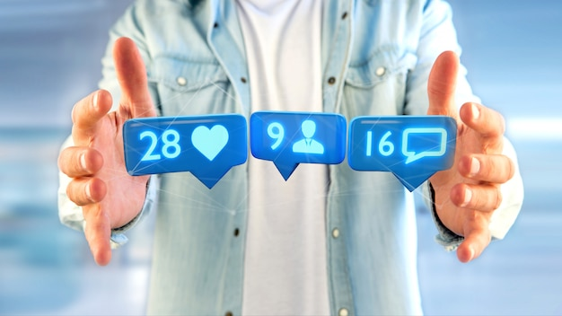 Businessman holding a like, follower and message notification on social network - 3d render Premium Photo