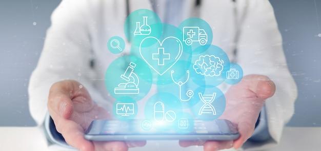의료 아이콘 및 연결 3d 렌더링을 들고 사업 프리미엄 사진