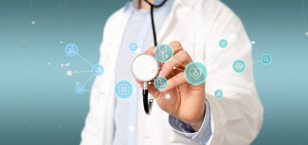 医療アイコンと接続3 dレンダリングを保持している実業家 Premium写真