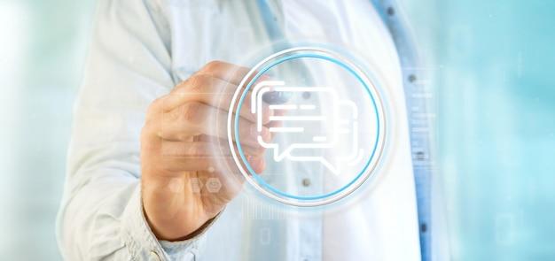 Businessman holding a message icon Premium Photo