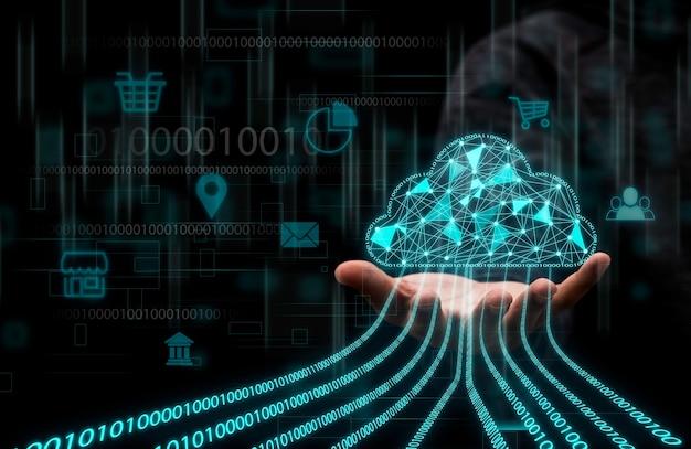 Businessman holding virtual cloud computing to transfer data Premium Photo