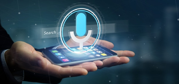 Businessman holding a vocal search system with button and icon3d rendering Premium Photo