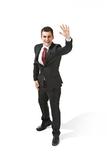 Бизнесмен в черном костюме, говорю привет Бесплатные Фотографии