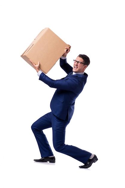Businessman lifting box isolated on white Premium Photo