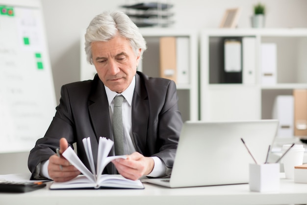 Businessman looking through notes Free Photo