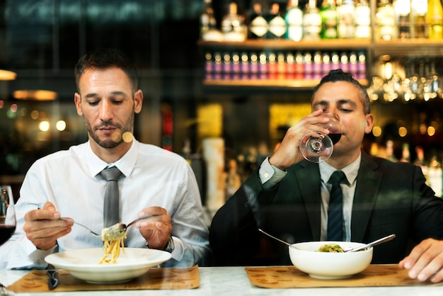 Businessman meeting eating discussion cuisine party concept Premium Photo