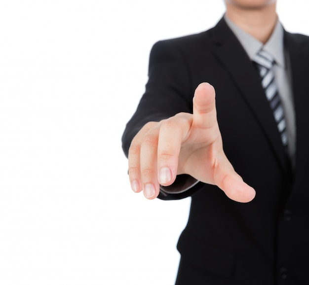 Businessman pressing something with his index finger Free Photo