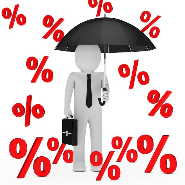 Businessman under a rain of percentages Free Photo
