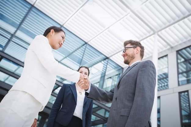 Businessman shaking hands with colleague Free Photo