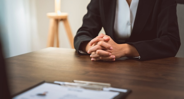 Businessman submits resume employer to review job application information Premium Photo
