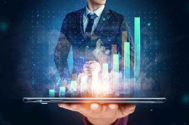Businessman in suit image of development strategy charts, business concept. copy space. Premium Photo