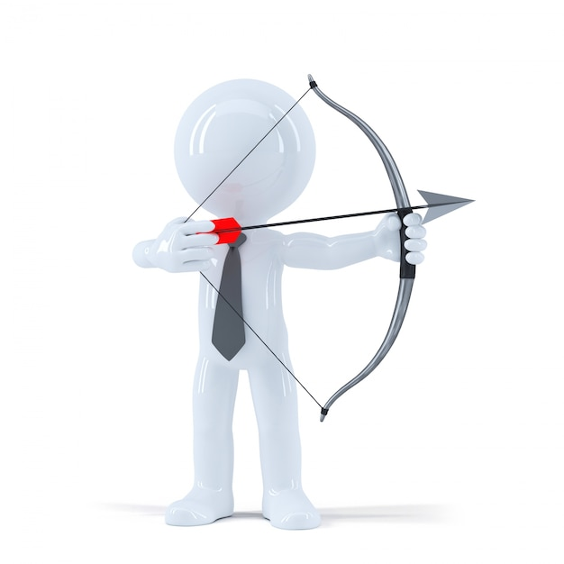 Businessman takes aim at a target with bow and arrow Free Photo